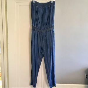 Zara Strapless Denim Jumpsuit